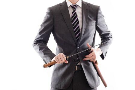 businessman suit: Businessman suit that has a Japanese sword