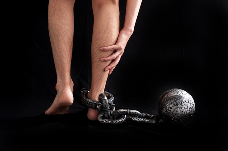 constraint: Businessman attached the shackles