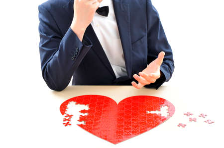 matchmaking: Heart and man Stock Photo