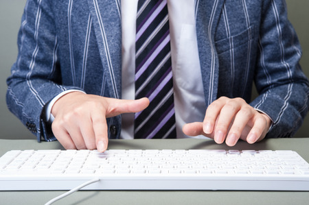 pc: PC keyboard and businessman