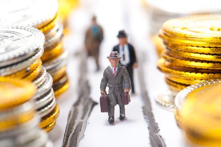 hard workers: Businessman walking road,a lot of money