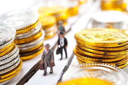 Businessman walking road,a lot of money