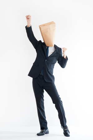 swindler: Young businessman wearing a carton Stock Photo