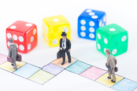 board game and businessman