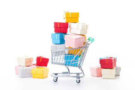 colorful gifts box,supermarket shopping cart