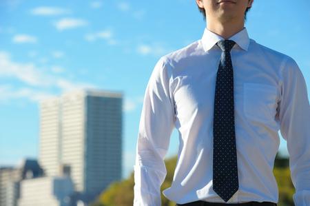 copy space: Blue sky and businessman, copy space