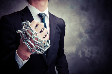 office slave: Businessman with chain