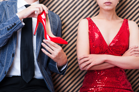 Businessman to have a red high heels