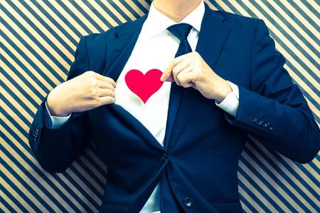 love confession: Heart mark and men Stock Photo