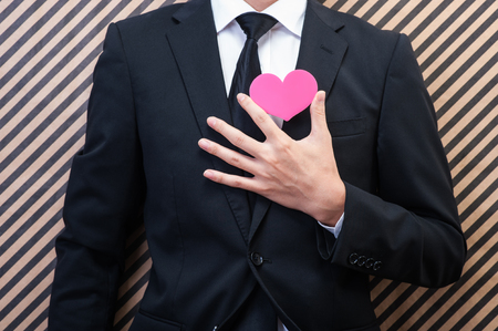 Heart mark and men Stock Photo