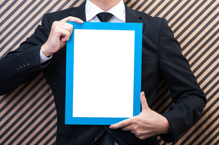 convey: Photo frame and businessman Stock Photo