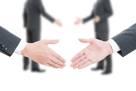 company merger: Handshake between businessman Stock Photo