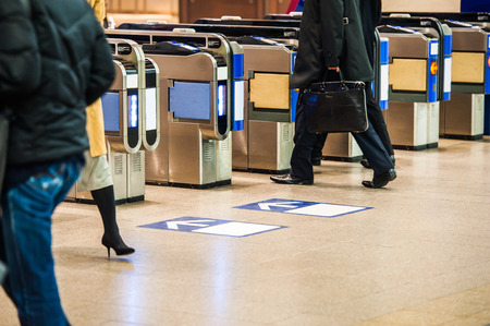 everyday people: People who walk the ticket gate of the station, the everyday scene