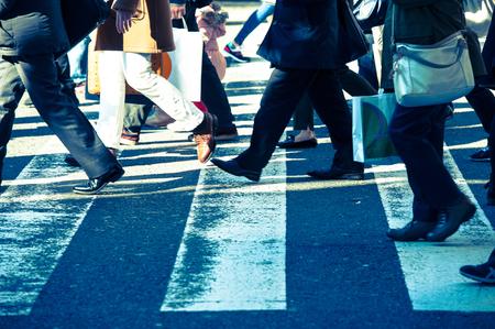 人々、横断歩道 写真素材