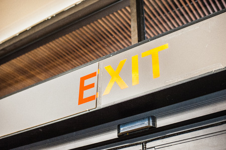 instruct: signs, exit Stock Photo