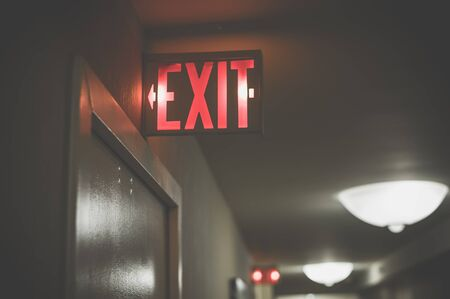 condemned: signs, exit Stock Photo