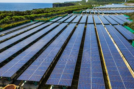 Solar power and wind power generation Stok Fotoğraf