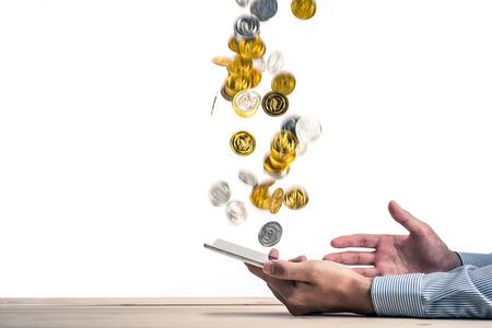 net surfing: Money going into smart phones Stock Photo