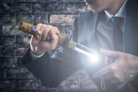 Geschäftsmann und dem japanischen Schwert