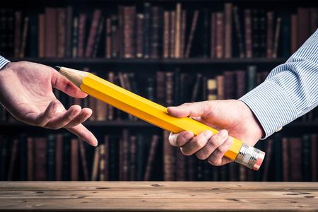 鉛筆、バトン 写真素材