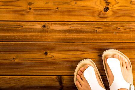 sandals: Feet wearing sandals