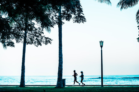 systemic: People silhouette, tree and palm Stock Photo