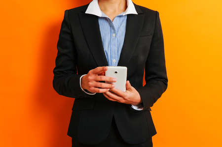 phone business: Business Woman and smart phone