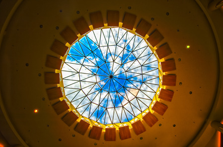 round window: Ceiling round window, daylighting Stock Photo