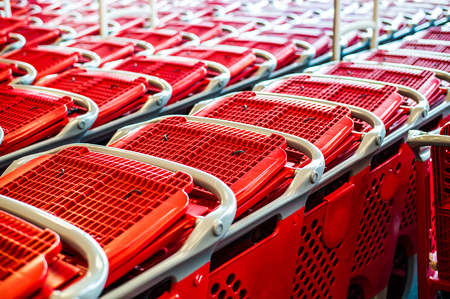 shopping carriage: Supermarket shopping cart Stock Photo