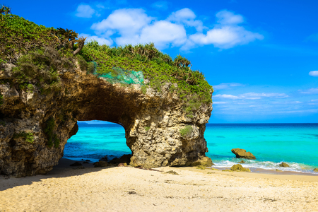 일본 오키나와 미야코 섬 sandpile 비치 스톡 콘텐츠