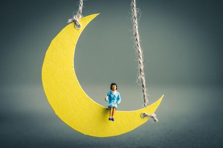 Crescent moon miniature and women Stok Fotoğraf