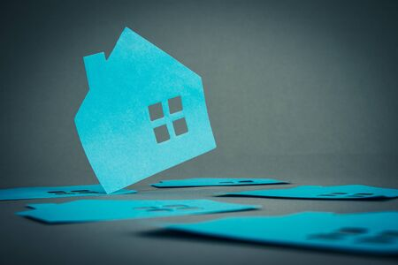 housing lot: House of silhouette blue Stock Photo