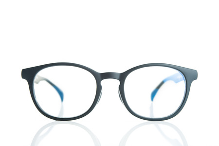 myopia: Black edge glasses Stock Photo