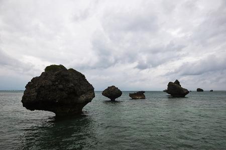 奇妙な形と海の岩 写真素材