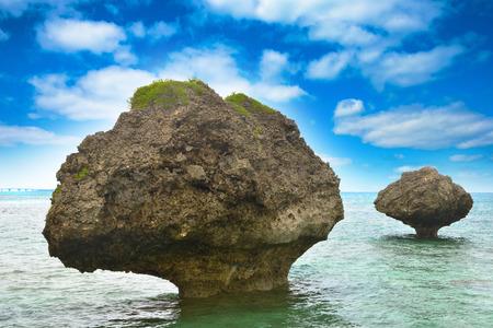 degradation: Rocks of strange shapes and sea