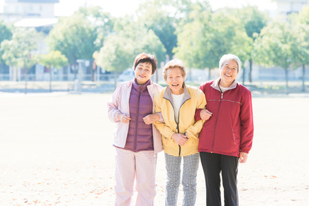 Three Japanese elderly to walk the road