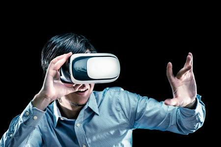 hallucinations: Men wearing goggles, virtual reality Stock Photo