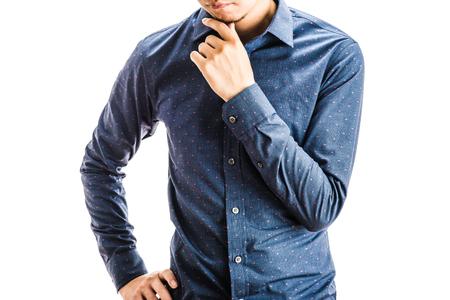 upper: Male upper body wearing shirt Stock Photo