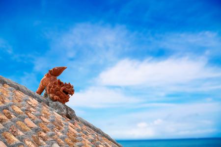 日本沖縄シーサー 写真素材