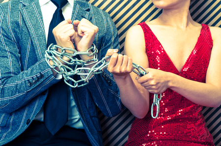 groping: Woman bound men with chain
