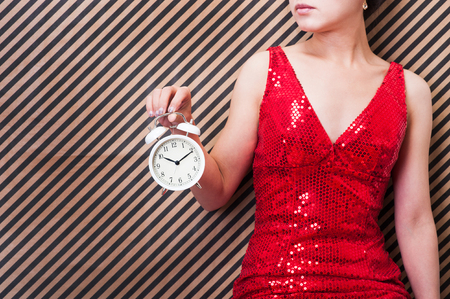 woman have clock Stock Photo