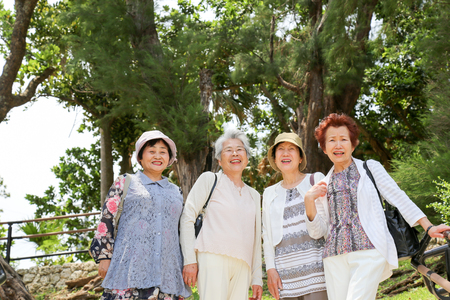 asian style: Elderly people are looking at the landscape Stock Photo