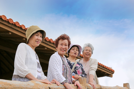 Elderly people are looking at the landscape Stock Photo