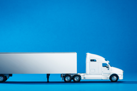 Heavy truck, blue background