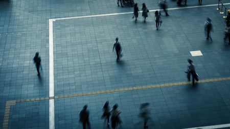 hustle: Silhouette of walker Stock Photo