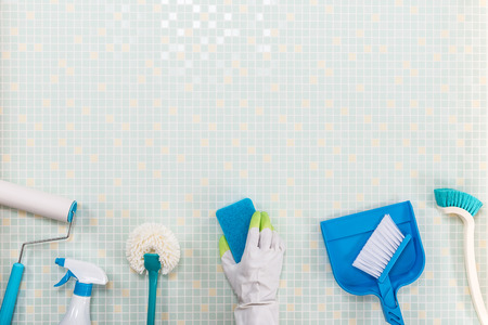 tile background: A lot of cleaning tool tile background