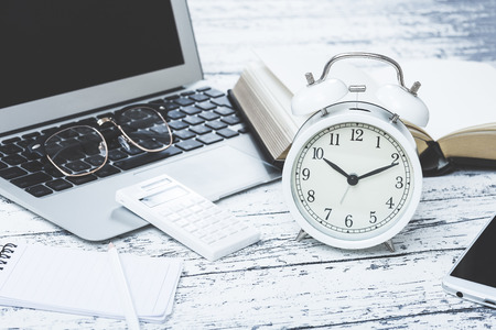 job deadline: Business image desk work Stock Photo