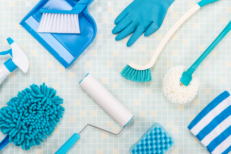 A lot of cleaning tool tile background