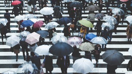 People across the crosswalk on a rainy day