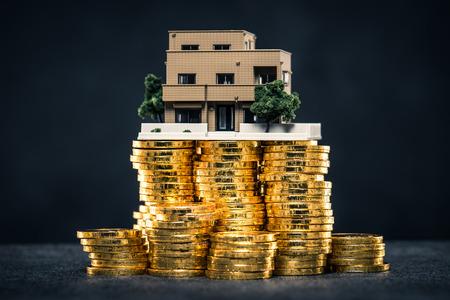 Een grote hoeveelheid geld en een huismodel Stockfoto